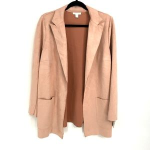 Charter Club Pink Faux Suede Leather Blazer